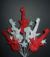 Rock guitar 21st birthday cake topper decoration in red and silver - free postage